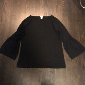 JCrew Factory EUC black 3/4 length bell sleeve top